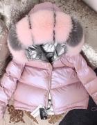 Dwustronna kurtka puchowa różowo srebrna futro lisa S...
