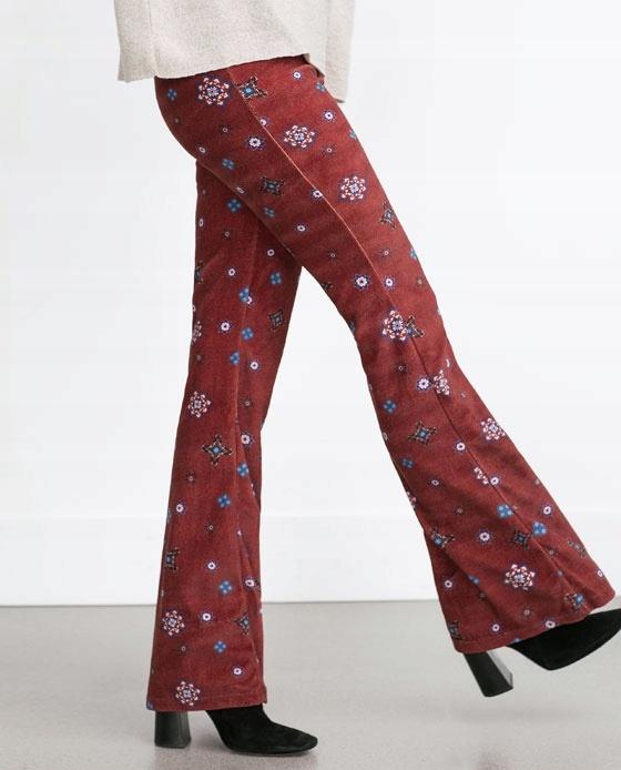 Spodnie zaraz rozkloszowane w kwiaty rozmiar S...