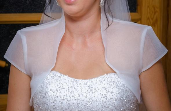Bolerko ślubne z krótkim rękawem organza...