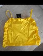 Zara nowy crop top żółty falbanki na ramiączkach...