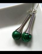Malachit zielony długie kolczyki srebro...