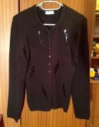 Kardigan sweter czarny z cekinami XS S M L 34 36 38 elastyczny...