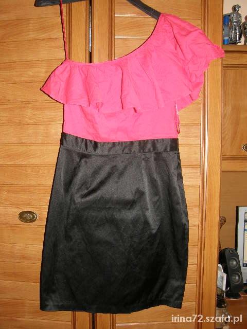 Asos sukienka na jedno ramie czerwono czarna S M...