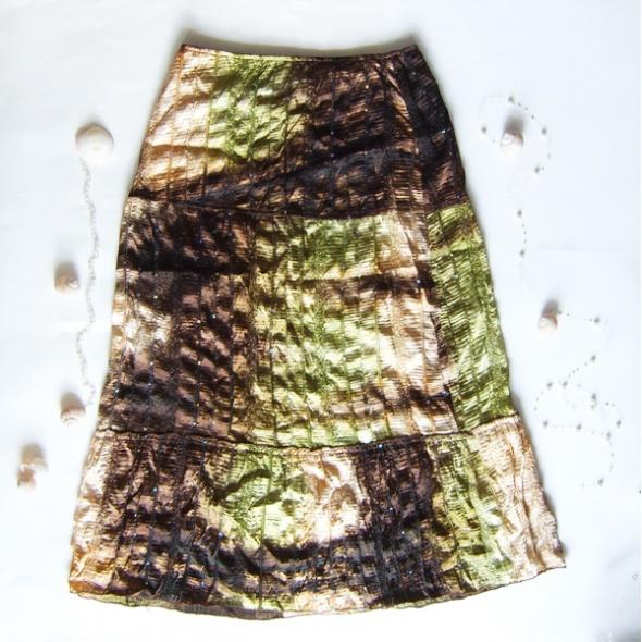 Spódnice Boho spódnica zielono brązowa z cekinami
