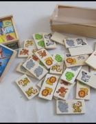 Zestaw dwóch drewnianych zabawek puzzle i domino...