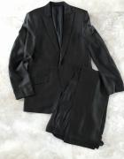 Komplet marynarka spodnie ciemny brąz welna wiskoz...
