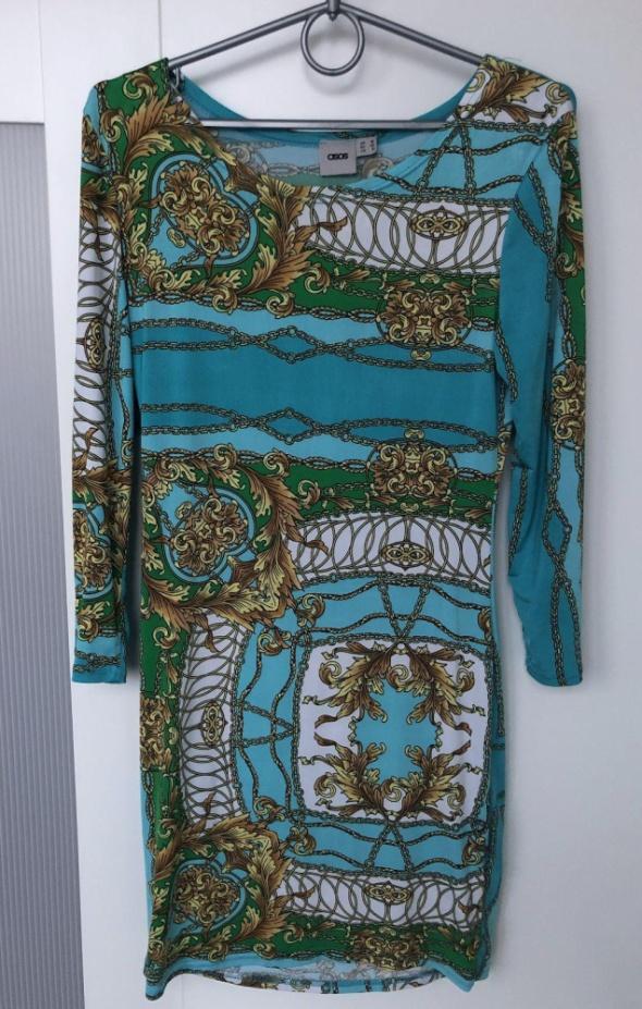 ASOS sukienka dopasowana błękitna print łańcuchy rozm 38 M stan...