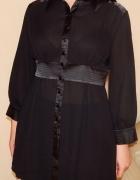 Czarna koszula L 40 mgiełka i satyna na guziki...