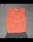 Rewelacyjna tunika sukienka w paski koralowa New Look L...
