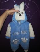 Kombinezon pajacyk królik króliczek niebieski biały hit nowy 62 cm
