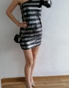 Glamorous sukienka na jedno ramię cekiny srebrna M...