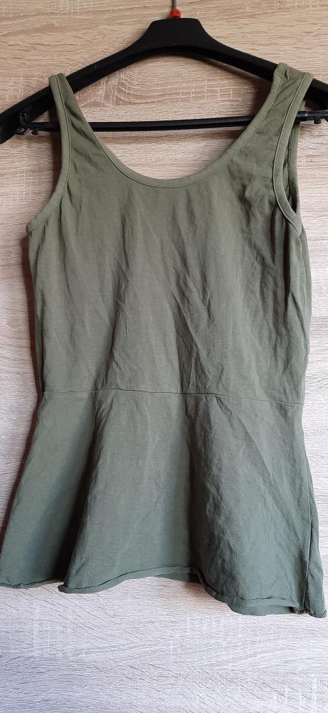 Bluzka khaki baskinka na ramiączkach