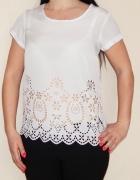 Ażurowa S M biała letnia bluzka kwiatki...