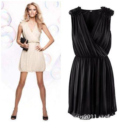 Suknie i sukienki CZARNA SUKIENKA H&M BOMBKA GRECKA PAGONY 36