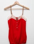 Bershka czerwona romantyczna koszulka z koronką vintage...