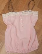 Romantyczna koszulka różowa z koronką retro...