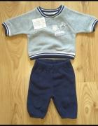 Nowy dres niemowlęcy ciepły polar bluza spodnie dresowe 56...