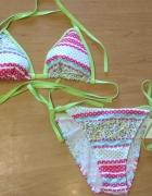 Nowy dwuczęsciowy strój kąpielowy bikini różowo zielony M 38...
