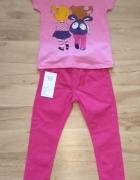 Różowa bluzka z krótkim rękawm i różowe spodnie 98...