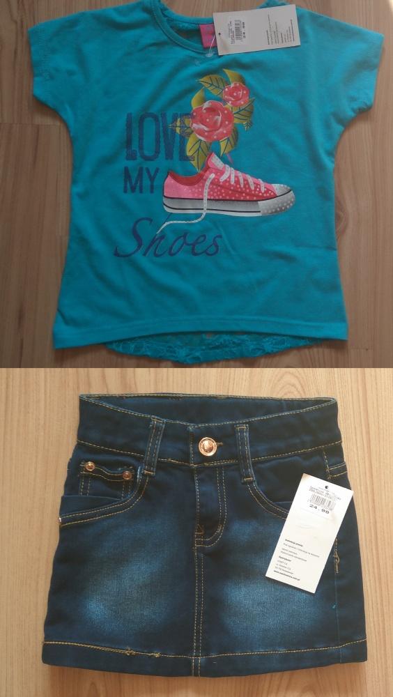 Niebieska bluzka z koronką i jeansowa spódniczka 9