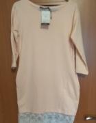 nowa dresowa sukienka z koronka pudrowy róz S M...