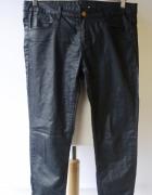 Spodnie Woskowane Granatowe H&M L 40 Rurki Suwaki...