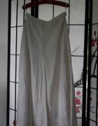 spódnica midi jasna biała kremowa długa lniana...