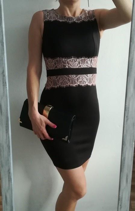 Dorothy Perkins czarna olówkowa sukienka koronka S...