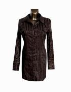 Brązowa Bluzka Tunika Koszula 42 XL...