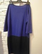 sukienka dzianinowa szafir z czernią...
