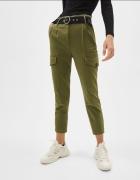 Spodnie cargo z paskie Bershka khaki rozmiar XXS XS...