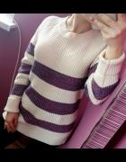 Sweter w paski Atmosphere dłuższy tył rozmiar S M...