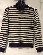Sweter Golf Paski Brązowo Białe XS 34 S 36...