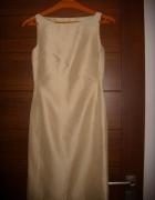 sukienka nude złotawa XS na S ołówkowa...