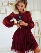 Sukienka z bufiastymi rękawami XS S M L bordowa...