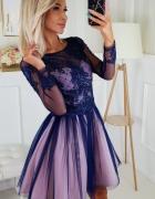Piękna i efektowna sukienka granatowa z różem XS S M L...