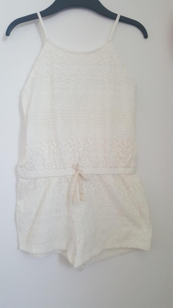 Kombinezon ZARA biały koronka letni 78 lat 128cm