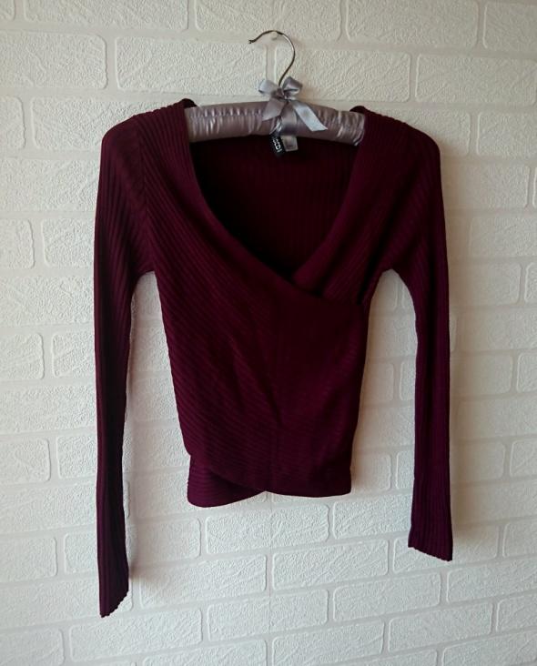 Swetry Kopertowy sweterek swetr H&M bordowy bordo śliwka prążki