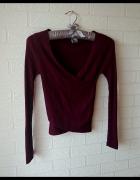 Kopertowy sweterek swetr H&M bordowy bordo śliwka prążki...