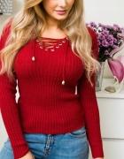 Cudny czerwony sweterek wiązany sznurowany dekold sweter red wi...