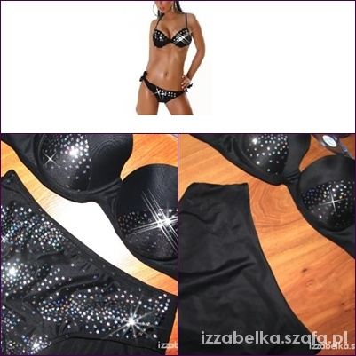 Cudne NOWE bikini czarne srebrne