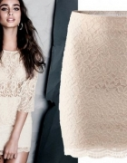 Koronkowa spódniczka eqri kemowa H&M beżowa nude koronka lace...
