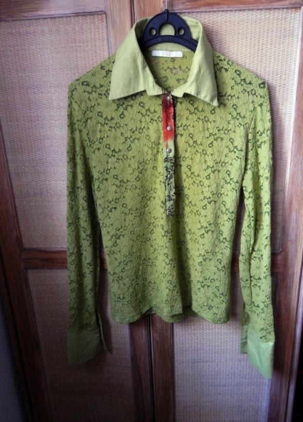 Bluzka Koszulowa piękna zieleń koronka L j NOWA...
