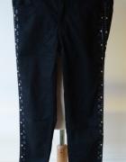 Spodnie H&M Divided Czarne Rurki Wzory Aztec S 36...