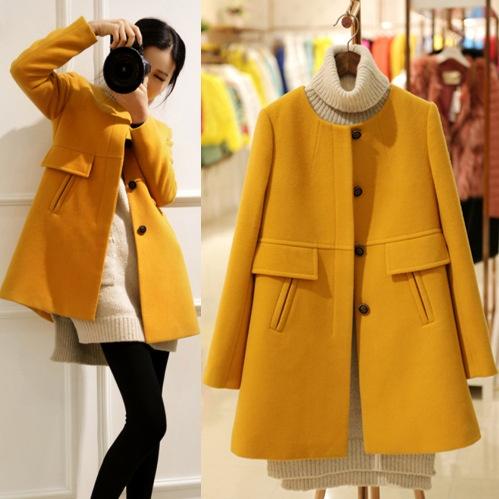 Płaszcz damski żółty pomarańczowy XS S