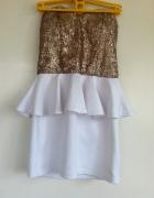 Biała sukienka baskinka złota góra cekiny M 38 ele...
