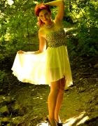 Sukienka z ogonem panterka bez ramiączek S XS M bi...