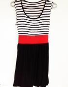 Sukienka bombka marynarska czarny czerwony biały paski taliowan...
