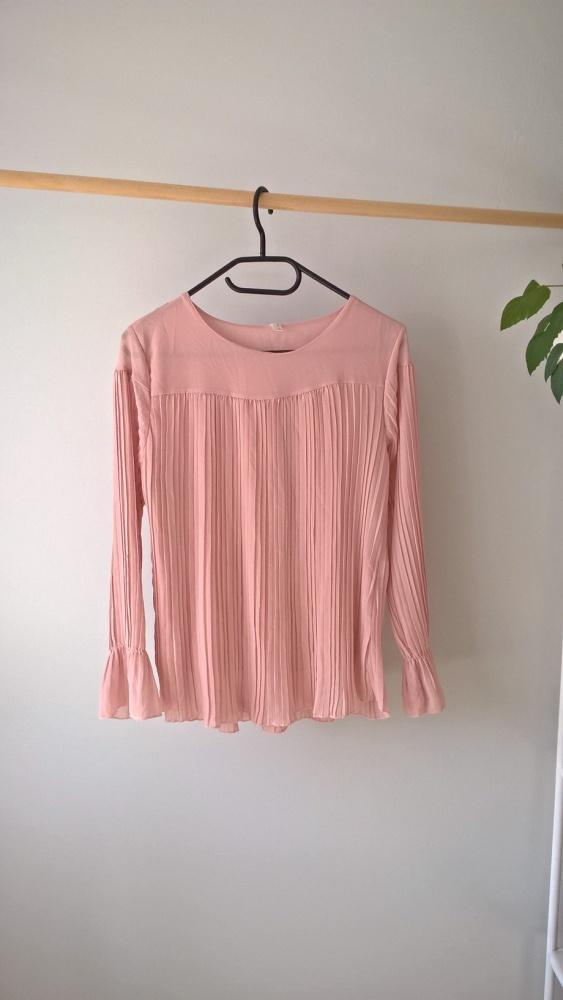 Bluzki Pudrowa plisowana bluzka S M