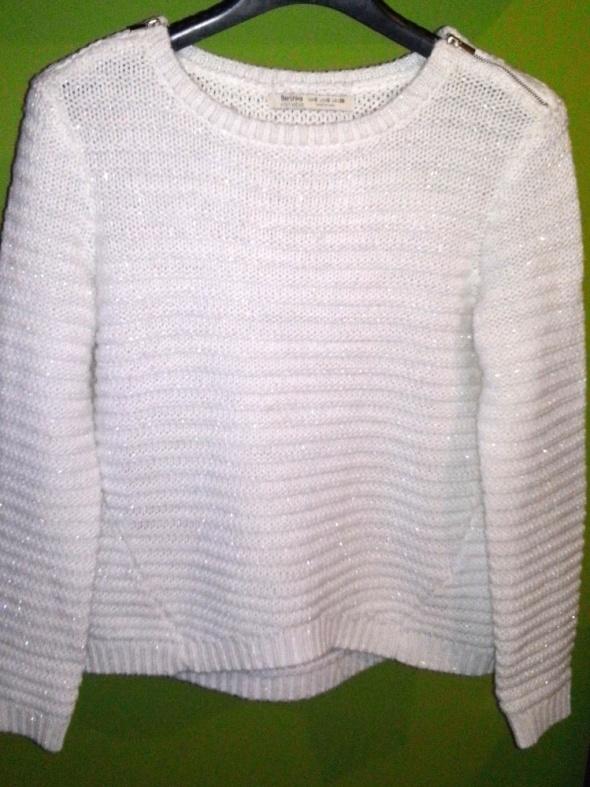Swetry Bershka sweter srebrna nitka